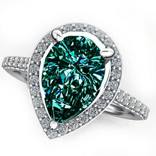 2.14 ct VS1/.GORGEUOUS WHITE BLUE GREEN PEAR MOISSANITE-WHITE SILVER RING/VIDEO