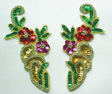 LR58 Sequin Bead Applique Mirror Pair Flower Floral Multicolor Belly Dance/Tutu