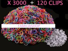 3000 élastiques multicouleur + 120 clips création bracelet style Rainbow Loom