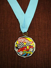 colorful pinewood racing medal light blue neck drape cub scout derby