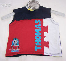 Thomas The Tank Boys Red Navy Printed Sleeveless T Shirt Size 0 New