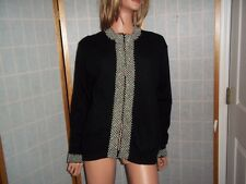 """Sweater Black with 2"""" Pearl Trim Size 46 Lined Cartigan Beaded Trim Black Large"""