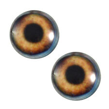 Pair of 25mm Brown Dog Glass Eyes for Jewelry Pendants or Taxidermy Doll Making
