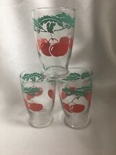 Set of 3 Vintage Cherries Design Juice Glasses 3.75""
