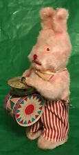 ADORABLE VINTAGE WIND-UP TOY FUZZY PINK RABBIT WITH TIN DRUM