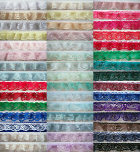 """3 Yards Ruffled/Gathered 1 1/4"""" Nylon Lace New Styles! See Description"""