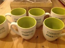 Box of 6 large size mugs ,tall & wide modern lime colour with