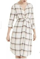 PHASE EIGHT CREAM/BEIGE ROSINA FLUTED CHECK KNOT SHIFT DRESS SIZE 16