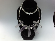 BOHEMIAN Raw AMETHYST silver-plated box chain NECKLACE BOHO Chakra Wicca GIFT