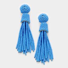 DESIGNER INSPIRED BLUE BEADED TASSEL DROP EARRINGS