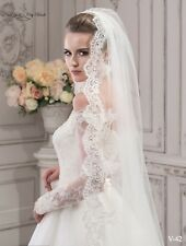 Wedding Veil, lace bridal veil, cathedral veil Rose , ivory veil