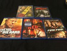 5 Blu-ray Movies-Bruce Willis- 16 Blocks/Sin City/Red/Live Free It Die Hard/Fir