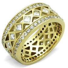 Ion Gold Stainless Steel Clear Princess Cut CZ Eternity Ring, Size 5,6,7,8,9,10