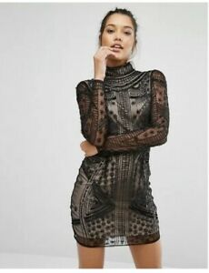 MISGUIDED HIGH NECK BODYCON DRESS BLACK Uk 12