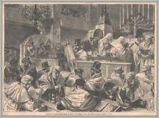 """""""Versöhnungsfest-Juden-Synagoge Rue Notre-Dame de Nazareth-Paris. Holzstich 1875"""