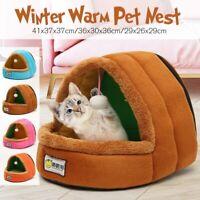 Zipper Pet Cat Dog House Kennel Puppy Cave Sleeping Beds Mat Pad Soft Warm Nest