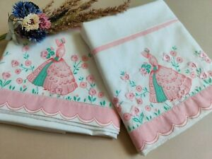 Pair of Vintage embroidered Crinoline lady pillow cases ~ Pink
