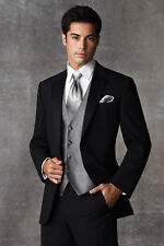 Black Joseph Abboud Tuxedo with Flat Front Pants Fitted Shirt Silver Vest & Tie