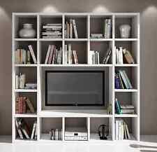 Parete attrezzata porta tv libreria soggiorno bianco frassinato 20 elementi