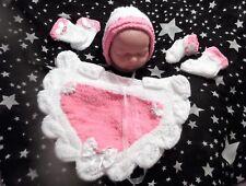 NEWBORN handknit PONCHO mitten bonnet set 4 baby / reborn pink / white LEAVES