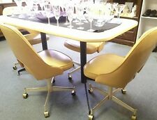 Vtg 5 Pc Mid Century Modern Dining Table 4 Swivel Chairs Dinette Set STONEVILLE