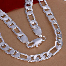 Heavy 64G 12mm 925 Sterling Silver Stamped Figaro Link Chain Necklace N-A357