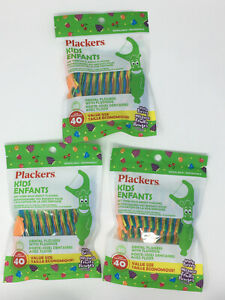 Plackers 3 Pack Kids Dental Flossers with Fluoride - 120 Count