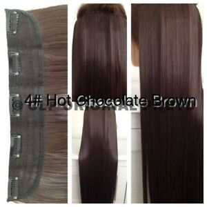 """24"""" Straight Clip In Hair Extensions Synthetic 1PC Thick Long Straight 3/4 head"""