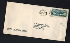 1939 USA first flight cover New York to England FFC Via Imperial Airways Caribou