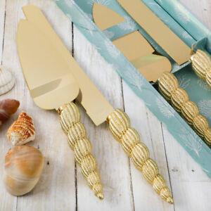 Conch Sea Shell Beach Themed Design Wedding Cake Cutting Knife and Server Set