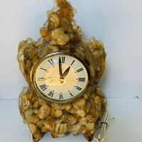 Vintage Original One of a Kind Mantel Clock Tramp Folk Art Rocks Stones Acrylic