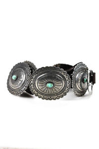Double D Ranch Sterling Silver Turquoise Concho Belt