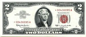 Star 1963 Two Dollar US Note, Red Seal $2 Bill, Monticello, Crisp Uncirculated!