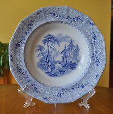 Lovely Antique Ironstone Blue & White Transferware Soup Plate J. Wedgwood Geneva