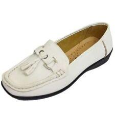 Zapatos planos de mujer mocasines color principal blanco sintético