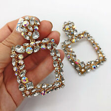 Large Statement Gold & Silver Door Knocker Rectangle Rhinestone Earrings Blogger