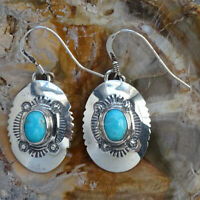 Navajo Artist MLB Stamped Sterling Silver Turquoise Pierced Earrings Signed