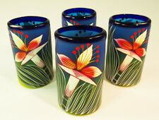 Mexican Glasses, hand blown, hand painted Orchid design 16 oz, (4)