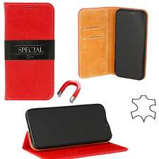 ^ Huawei P20 Echt Leder Book Flip Buch Case Cover Handy Tasche Schutz Hülle ROT