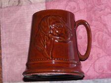 Vntg Brown Pottery Coffee Mug English Setter Dog Bugle Whip Riding Hat Fox Hunt