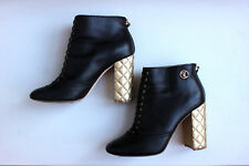 CHANEL Black Leather Quilted Heels Ankle Boots Size 40 US 9