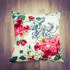 238. Handmade Vintage Red Flowers with birds 100% Cotton Cushion Cover