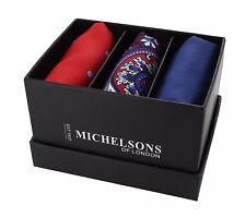 Red Spot, Blue & Red Paisley, Navy Plain Pocket Square Gift Set