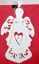 "Angel Heart Wall Door Hanging Carved Wood White 14"" x 8"" Iridescent Glitter"