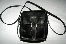 Leather Swing Pack Bag Purse Carla Marchi Made in Italy Black Detachable Strap