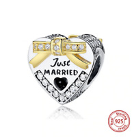 Sterling Silver 14x20mm says Just Married Wedding Charm