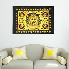 Cotton Traditional Sun Sign Wall Hanging Yellow Color Hippie Tapestry Poster Art