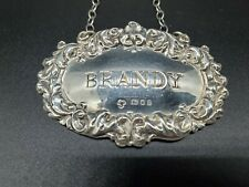 """Sterling Silver Liquor Decanter Identification Tag """"BRANDY"""" 13GMS 🥂🇬🇧 ENGLAND"""