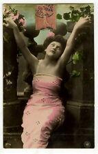 c 1905 Glamour FULL FIGURED BEAUTY Lady Figure  glamor tinted photo postcard