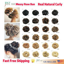 Natural Messy Rose Bun Curly Scrunchie Hair Extensions Updo As Human Hairpieces